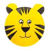 Hand-painted tiger carnival mask for children, on paper plate royalty free stock photo