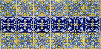 Hand painted tiles in two patterns texture background Stock Images