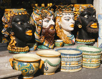 Hand painted traditional Italian ceramic vases Royalty Free Stock Photo