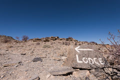 Hand Painted Trail Sign with Arrow. Namibia, Namibia stock photo