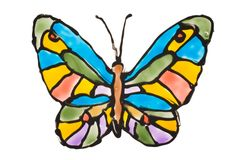 Hand painted transparent butterfly. On white background Stock Photography