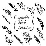 Hand-painted twigs  illustration. Hand-painted twigs ink  illustration Royalty Free Stock Images