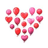 Hand painted Valentine`s day greeting card. Watercolor party collection of pink, red and purple balloons. Lovely design elements isolated on white background royalty free illustration