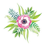 Hand Painted Vector Purple Watercolor Flower. Stock Photo
