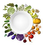 Hand-painted vegetables, fruits Stock Images