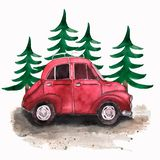 Hand painted vintage red car and christmas trees. Watercolor illustration of retro car. vector illustration
