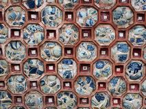 Hand painted wall decorative round shape ceramic tiles Royalty Free Stock Image
