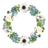 Hand-painted Watercolor Anemones And Succulents Wreath Stock Images