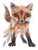 Cute fox with a golden fish. Hand painted watercolor illustration. vector illustration