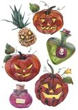 Hand painted watercolor illustrations. Set of Halloween elements and objects. royalty free illustration
