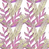 Hand painted watercolor seamless pattern. Tropical abstract plants background. stock illustration