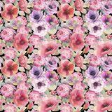 Watercolor seamless pattern with flowers, anemones, poppies, roses and butterflies. Romantic botanical wallpaper. Hand painted watercolor art illustration royalty free illustration