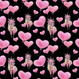 Watercolor seamless funny pattern for Valentine`s Day with unicorns and balloons. Children`s wallpaper. stock illustration
