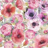 Watercolor seamless pattern with flowers, anemones, poppies, roses and butterflies. Romantic botanical wallpaper. stock illustration