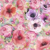 Watercolor seamless pattern with flowers, anemones, poppies, roses and butterflies. Romantic botanical wallpaper. Hand painted watercolor art illustration stock illustration