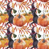 Watercolor seamless pattern. Illustration with pumpkins, black cat and autumn leaves. stock illustration