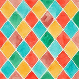 Hand painted watercolor background. Colorful rhombus on white paper Royalty Free Stock Image