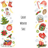 Hand painted watercolor background with elements for Christmas sale. royalty free illustration