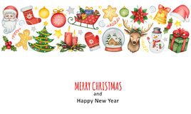 Hand painted watercolor background with elements for merry Christmas and happy new year. Illustration for design cards, invitations and greetings royalty free stock images