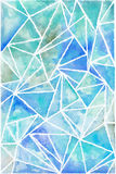 Hand painted watercolor background. Polygonal blue watercolor  abstract geometric background Royalty Free Stock Images