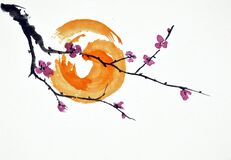 Abstract blossoms and sun watercolor painting in Chinese traditional art style