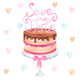 Hand painted watercolor cake. Save the date Royalty Free Stock Image
