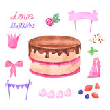 Hand painted watercolor cake. Vector illustration. Stock Photos