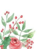 Watercolor Leaves Floral Winter Christmas Corner. Hand Painted Watercolor Christmas Leaves and Festive Berries Wreath Stock Image