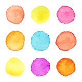 Hand painted watercolor circles. Set of watercolour stains. Watercolor circle textures. Vector illustration.  stock illustration