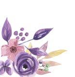 Watercolor Purple Corner Frame Lilac Wreath Summer Flower Arrangement Pink Hand Painted Garland. Hand-painted watercolor clip art high quality floral Purple Royalty Free Stock Image