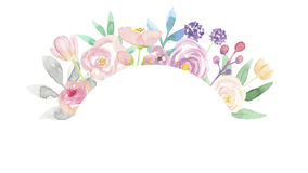 Watercolor Arch Wreath Summer Frame Flower Arrangement Pink Hand Painted Garland Royalty Free Stock Image