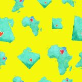 Maps of Egypt and Africa in a seamless pattern on a yellow background royalty free illustration