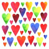 Hand painted watercolor colorful hearts isolated on white background. Hand painted watercolor yellow, orange, red, pink, violet, blue and green hearts isolated royalty free illustration