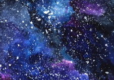 Hand painted watercolor cosmic texture with stars. Space, starry night sky, galaxy  illustration Stock Photos
