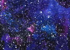 Hand painted watercolor cosmic texture with stars. Space, starry night sky, galaxy  illustration Stock Images