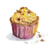 Hand painted watercolor cupcake with vanilla cream Stock Photo
