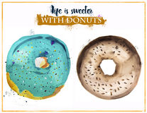 Hand-painted watercolor donuts Stock Images