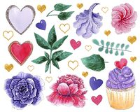 Hand painted watercolor elements: cupcake, marshmallows, heart cookies, flowers and leaves.