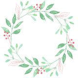 Watercolor Festive Winter Christmas Wreath Mistletoe Berry Garland Royalty Free Stock Image