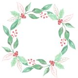 Watercolor Festive Winter Holidays Wreath Holly Berry Red Green Garland Royalty Free Stock Photos