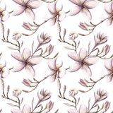 Hand painted watercolor floral pattern pink purple colors seamless stock illustration