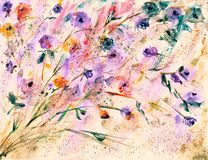 Hand Painted Watercolor Florals Painting. Digital Print Of Original Painting. Expressive Way Of Painting. Modern Art. Royalty Free Stock Photo