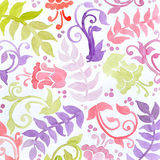 Hand painted watercolor flowers ferns curls and flourishes in wallpaper pattern Royalty Free Stock Photography