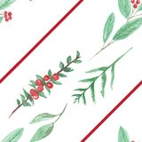 Watercolour Berries Red Green Flower Leaves Christmas Seamless Pattern Holidays Festive. Hand Painted Watercolor flowers, leaves and berries in Christmas festive Royalty Free Stock Photography