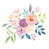 Watercolour Berries Bouquet Arrangement Pretty Pink Wedding Flowers. Hand Painted Watercolor flowers, leaves and berries in pretty floral bouquet arrangements stock illustration