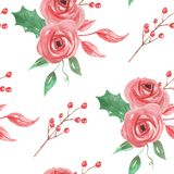 Watercolor Berries Red Flower Floral Holidays Christmas Seamless Pattern. Hand Painted Watercolor flowers, leaves and berries seamless patterns digital papers Stock Image