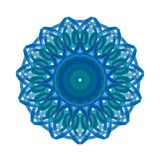 Hand painted watercolor graphic design element. Blue pattern in circle. Absract mandala vector illustration