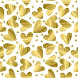 Hand painted watercolor hearts seamless pattern. Hand painted watercolor golden hearts seamless pattern Royalty Free Stock Image