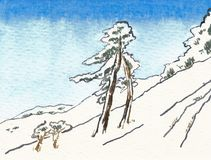 Watercolor of a snowy hill with two trees. royalty free illustration