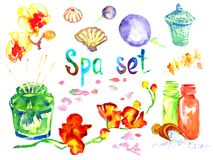 Spa set: scented candles, aroma oils, sea shells, basalt stones, bamboo shoots, flowers. Hand painted watercolor illustration of objects for spa isolated on Royalty Free Stock Photography